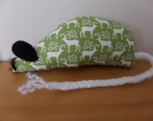 Hand Made Christmas Catnip Mouse - Green Scandi Reindeer design - Cat Toy