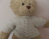 Teddy Bear Sweater - Hand knitted - Cream fleck aran/cable design - fits Build a Bear