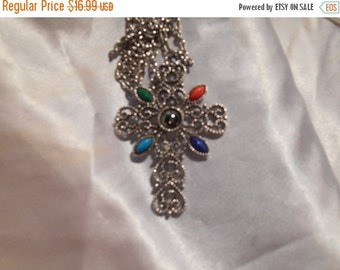 40% OFF SALE Avon Romanesque Necklace Silver Tone Cross With Stones