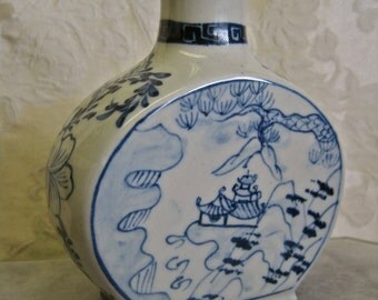 Porcelain Bottle Asian Vase Blue and White Scenic Chinese Lotus Blossoms Double Side Design Vintage with Cork Container