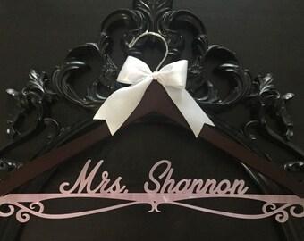 Wedding Hanger, Personalized Bride Hanger, Brides Hanger, Blush Pearl Hanger, Bling Hanger, Pearl Hanger, Pearlized Acrylic Wedding Hanger