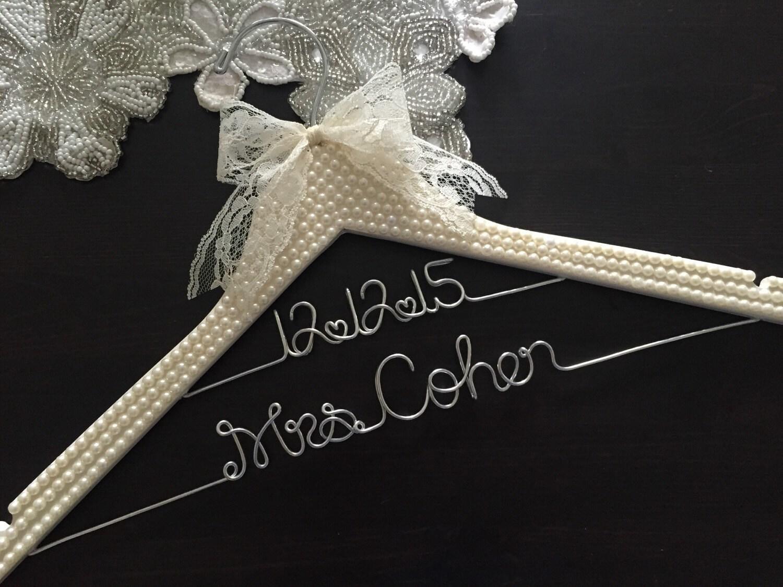 Bridal hanger bride hanger wedding hanger pearl covered for Wedding dress hanger name