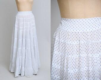 Antique Pioneer Polka Dot Cotton Full Length Original Bohemian Paneled Prairie Skirt
