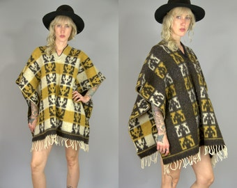 60s Southwestern Spaghetti Western Reversible Wool Pullover Mexican Poncho
