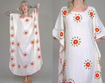 70s Mexican Kaftan Embroidered Floral White Gauzy Cotton Bohemian Caftan Festival Dress