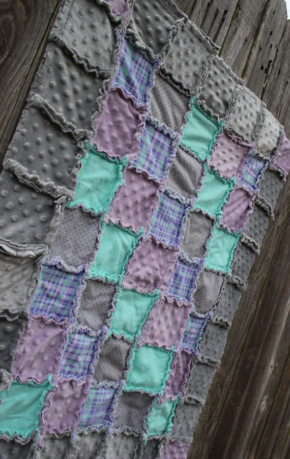 Lavender Purple Aqua Mint Amp Gray Rag Quilt Blanket Perfect