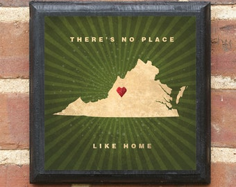 """Virginia VA """"There's No Place Like Home"""" Wall Art Sign Plaque Gift Present Personalized Color Custom Location Home Decor Richmond Classic"""
