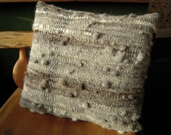 "Hand Woven Cushion  -  Natural Grey Wool Pillow Cover - 16"" x 17.5"" all handspun"