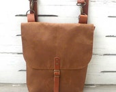 Brown Waterproof Canvas  Mini Backpack  with Removable Leather Strap / School / Travel