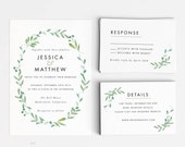 Printable Wedding Invitation Set - Modern Botanical Wedding Invites- Ready to Print PDF- rsvp card- Letter or A4 Size (Item code: P228)