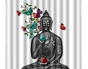 Buddha Butterflies Shower Curtain - Vintage Buddha Illustration Shower Curtain - Buddha - Buddha Shower Curtain -  Bath Decor - Buddha Decor