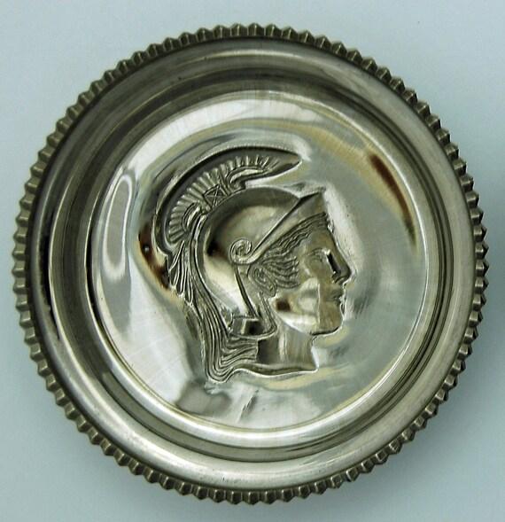 "Vintage SILVER SMOKE CARNIVAL Glass Single Round 3 3/4"" Di Dish Intaglio With Roman or Greek Soldier Profile, Excellent Condition"