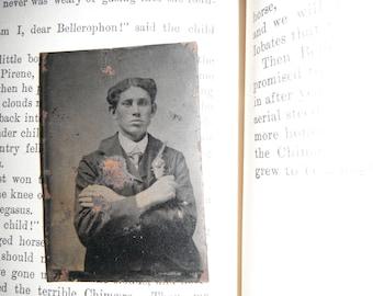 Tintype Photo - Young Man Holding a Revolver - Gun - Outlaw