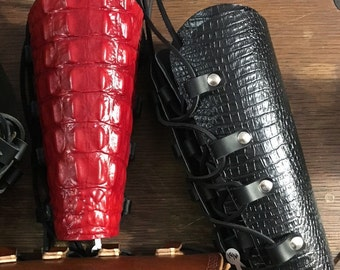 Dragon Hide Leather Archers Bracer Pair with Laces