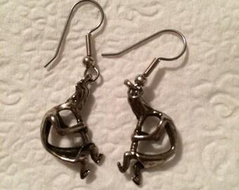 Pewter Kokopelli earrings