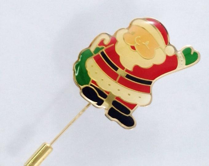 Sweet Vintage Enamel Santa Claus Brooch Pin With Vinyl, Fun Holiday Jewelry Hohoho Jolly Brooches. Christmas Holiday Pin
