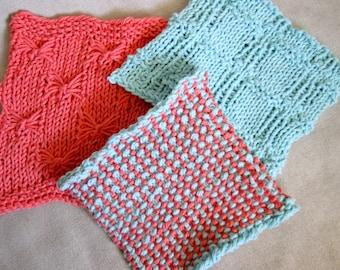 Dishcloth Knitting Pattern - Knit Washcloth Pattern - Knit Pattern for Dish Rag - Butterflies, Windows, and Slip Stitch Dishcloth Pattern