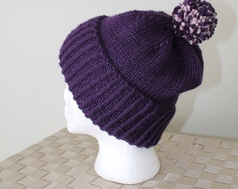 Knit Slouchy Hat - Beanie - Winter Toboggan Hat - Pom Pom Hat - Plum - Men's or Women's