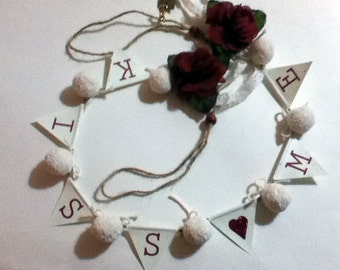 Custom pom pom and paper garland natural cotton and printed for 3 foot cardboard letters