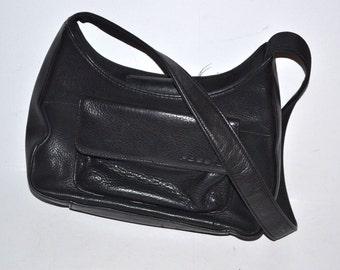 80s vintage designer black leather small  purse by Fossil messenger shoulder bag