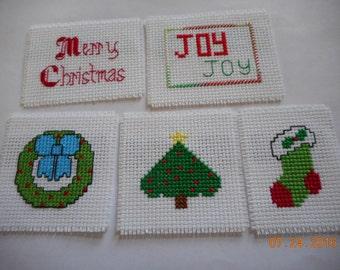Christmas Magnets Set B cross stitch magnets  SET OF 5 kitchen magnets locker magnets