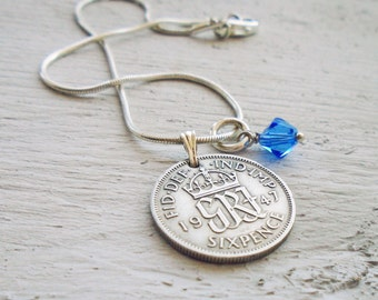 Something Old and Blue Sixpence in your shoe Anklet - Lucky Bridal Gift Wedding Day