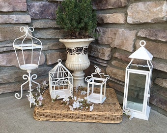 White Wedding Lanterns/ Outdoor Party/ Patio Lanterns / Lot of 4 Metal Candle Lanterns