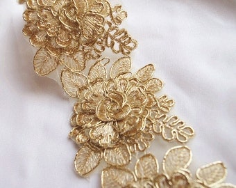 gold cord lace trim, gold alencon lace trim 3D rose