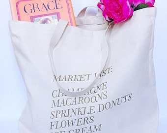 The Market Tote- Large Canvas Tote Bag with Gold Print