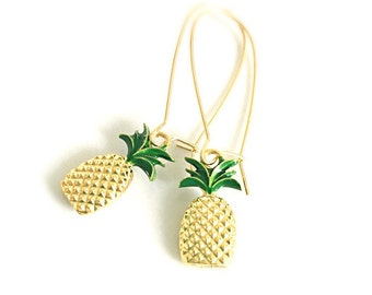 Gold Pineapple Earrings Dangle Preppy Southern Hospitality Be A Pineapple Stand Tall