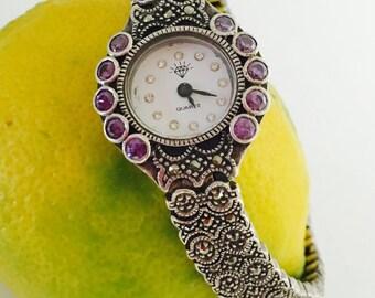 Sterling Silver Watch, Art Deco, Marcasite/Amethyst/Rhinestones, Quartz Ladies, Stamped, Item No. S431