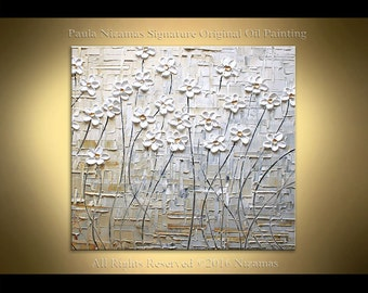 "Original wild daisies large 36"" Impressionist Palette Knife heavy texture Floral  Painting from Paula Nizamas room decor"