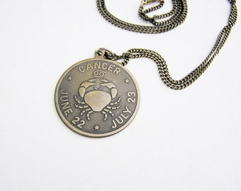 """Vintage Bronze Cancer Sign Pendant and  26"""" Bronze Chain- comes gift boxed!"""