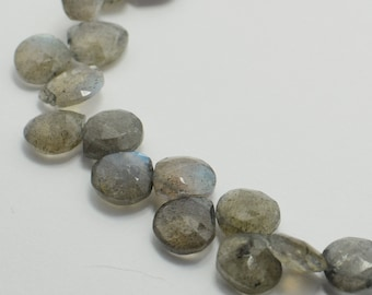 Labradorite Heart Briolettes, Labradorite Briolette Faceted Flat Drops, 8x8-9x9 mm, 8 Beads, Destash Gemstones #107