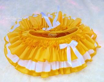 Beautiful Parley Ray Baby Girls Ruffle Skirt Yellow All Around Ruffled Baby Bloomers/ Diaper Cover / Photo Props