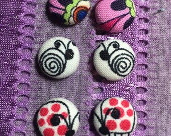 Any 3 pair for 18 dollars Fabric Button Earrings!