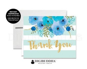 THANK YOU CARDS Folded A2 Thank You Card Note Wedding Thank You Note Card Bridal Shower Thank You Printed Baby Shower Blue Striped - Mady