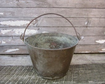 Antique Home Decor Copper Baled Handle Kettle Bucket Heavily Aged Distressed Vintage Copper Bucket Dark Patina Rustic Cabin Farm Kitchen Old
