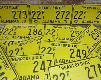 Price PER License Plate Vintage ALABAMA License Plate Metal Heart of Dixie 1971 70s Auto 1970s Black & Yellow vtg Man Cave Many Available