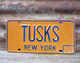 License Plate New York NY TUSKS Personal Vanity Plate Blue & Yellow Vintage License Plate Industrial Metal Aged Patina Car Auto Hot Rod