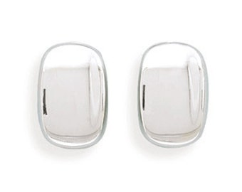 Sterling Silver Rectangular Concave CLIP ON Earrings