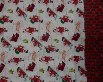 PILLOWCASE - Whimsy Santa in Sleigh & Sled - Jingle Bell phrases Merry Christmas 2 available Cotton