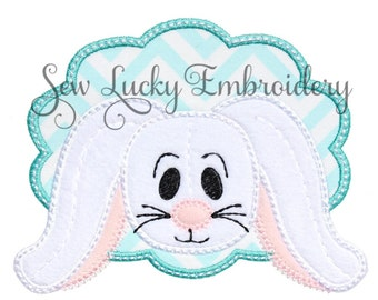 Floppy Eared Bunny Appliqued Embroidered  Patch , Sew or Iron on