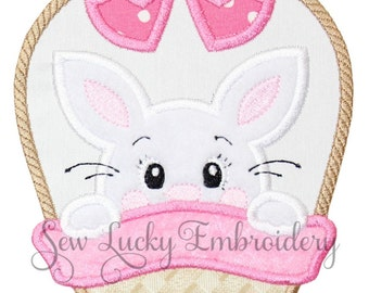 Girl Easter Bunny in Basket Applique Embroidered Patch , Sew or Iron on