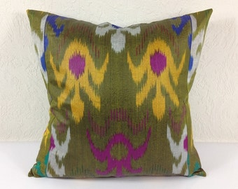 Ikat Pillow, Hand Woven Ikat Pillow Cover A438-1aa3, Ikat throw pillows, Designer pillows, Decorative pillows, Accent pillows