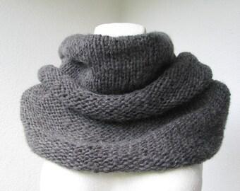 Dark gray knitted angora cowl, reversible cowl, capelet, shoulder warmer, neckwarmer