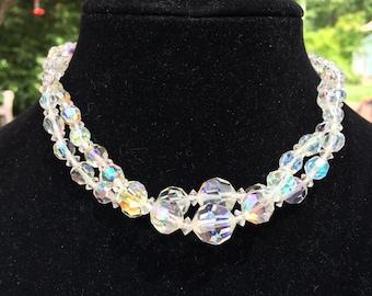 Glamorous vintage double strand austrian crystal necklace