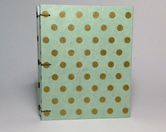 Made to Order - Mint & Gold Polka Dot Journal