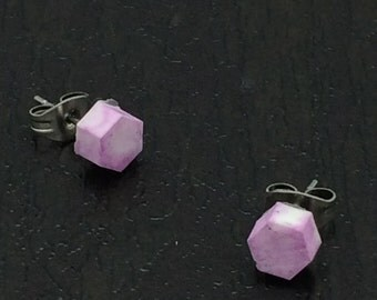 White and pink marbled little hexagon resin stud earrings with surgical steel posts