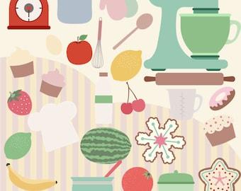 Retro Cooks Kitchen, Clipart, 50s Kitchen, Cooking Clip Art, Instant download, Recipe Clipart, Chef Clipart, 50s Clipart